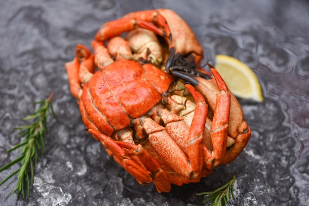Seafood shellfish steamed red crab or boiled stone crab - fresh crab with ingredients lemon rosemary