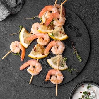 Seafood shrimp skewers on plate