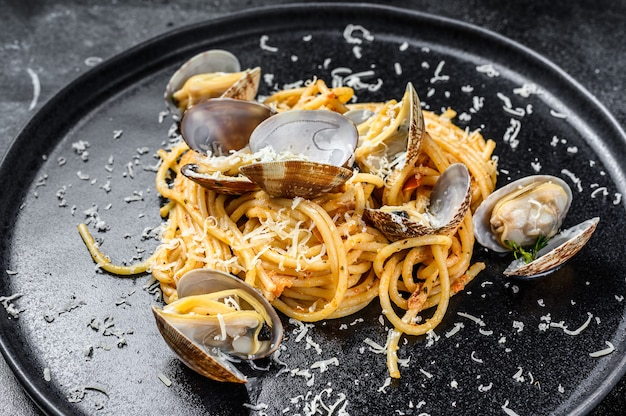 Seafood spaghetti pasta with clams vongole in a plate