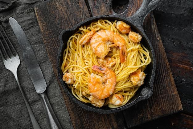 주철 프라이팬에 바로 먹을 수있는 해산물 스파게티 페스토 세트