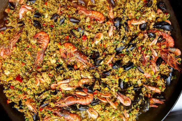 Seafood spanish paella, top view.
