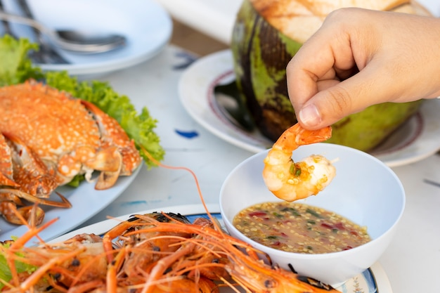 Seafood with shrimp and crab with spicy sauce