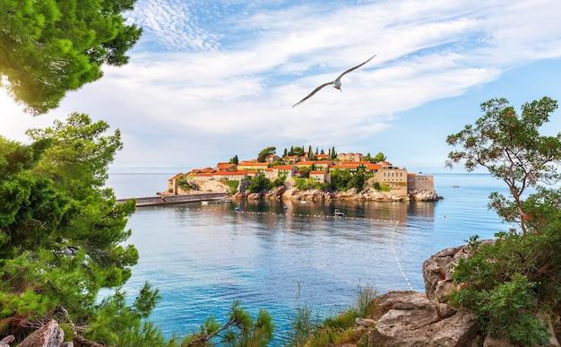 Чайка летит над островом свети-стефан, вид со скалы, будванская ривьера, черногория.