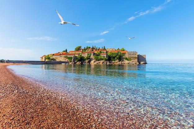 Чайка летит над островком святой стефан недалеко от будвы, вид с пляжа, черногория.