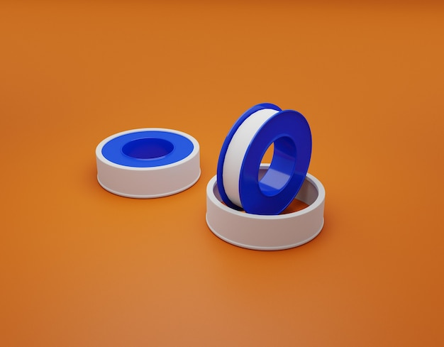 Лента уплотнительная для резьбовых соединений. 3d иллюстрация