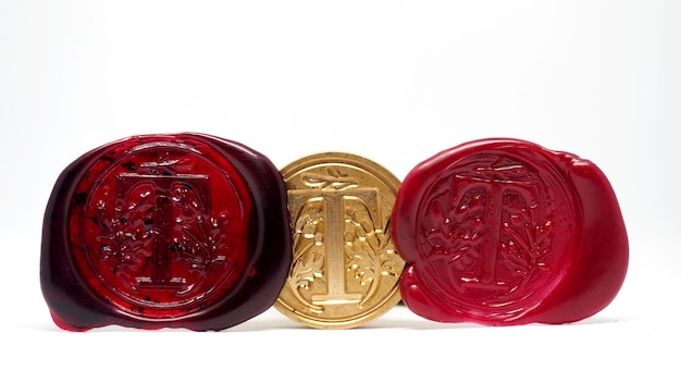 Sealing wax wooden stamper isolated on white background.