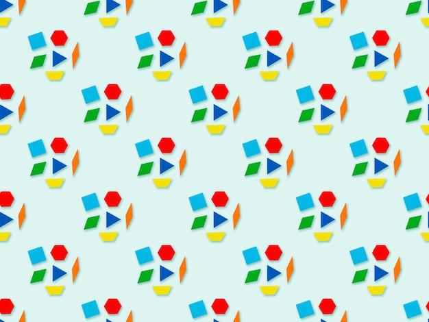 Seamles 추상 삼각형, 사다리꼴, 마름모, 큐브, 파란색 배경에 육각형 패턴. 다채로운 기하학적 배경