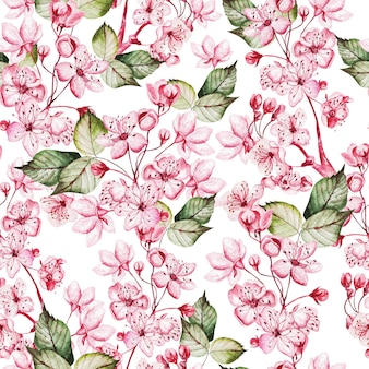 핑크 꽃과 녹색 잎 일본 사쿠라와 seamles 패턴