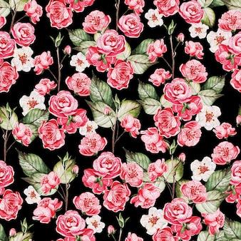 ピンクの花と緑の葉を持つ日本の桜の縫い目パターン