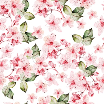Seamles pattern with japanese sakura with pink flowers and green leaves