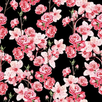 ピンクの花と日本の桜の縫い目パターン