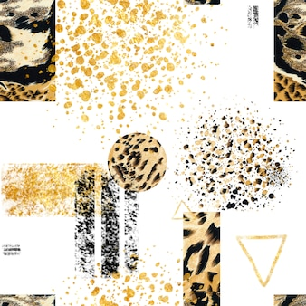 Seamless abstract geometric pattern with animal wild jaguar print.