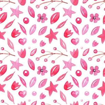 Seamless abstract watercolor pattern with leafs, berries, hearts, stars