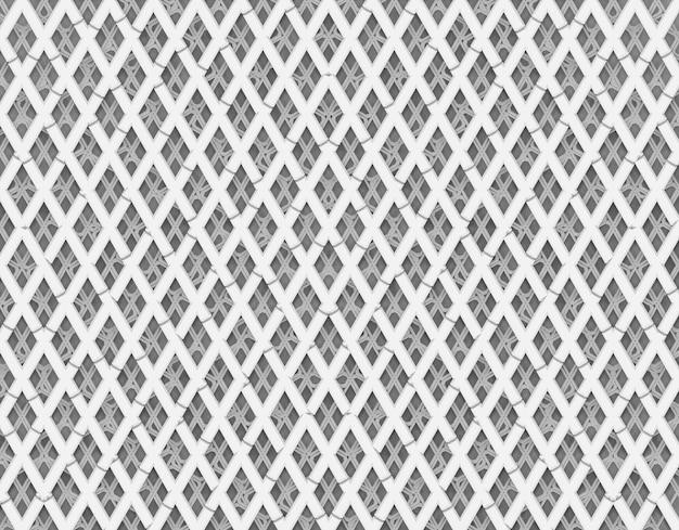 완벽 한 추상 흰색 막대 다이아몬드 모양 패턴 벽 배경 오버레이.