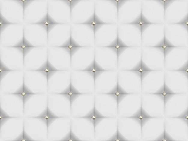 シームレスな抽象的な白いソファーレザー表面ゴールドボタンパターンの壁の背景。