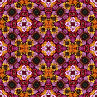 Seamless background from flowers for packing paper, a congratulation, cards. effect of a kaleidoscope.