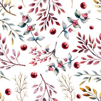 Бесшовный фон. набор цветочных веток, ягод, листьев