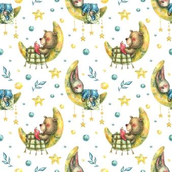 Бесшовный фон со спящим зайцем и медведем, лежащим на луне среди звезд