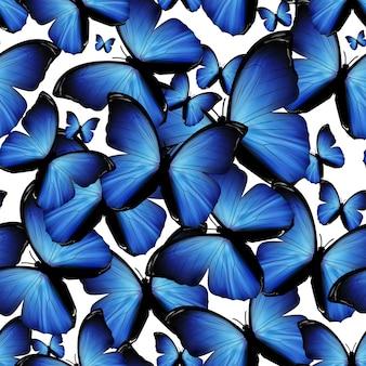 Бесшовный фон с голубыми бабочками