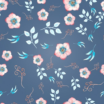 Seamless background with pink hellebore flowers, buds, leaves, decorative branches on a blue background . watercolor illustration, handmade.