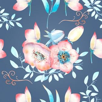 ピンクのヘレボルスの花、つぼみ、葉、青い背景の装飾的な枝とのシームレスな背景。水彩イラスト、手作り。