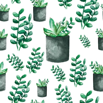 Seamless background with watercolor cactus and succulent. watercolor illustration for textiles, fabric and pattern.