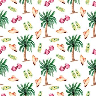 水彩夏のシンボルヤシの木、フラットスリッパの靴、帽子、サングラスとのシームレスな背景。夏の季節のパターン。