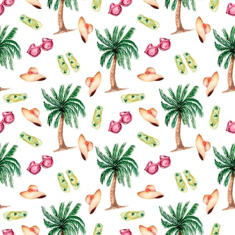 Seamless background with watercolor summer symbols-palm tree,flat slippers shoes,hat and sun glasses.summer season pattern.