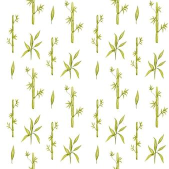 白いbackgruondのシームレスな竹の葉のパターン