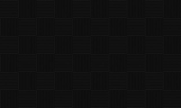 シームレスな黒い正方形のタイル柄の壁の背景。