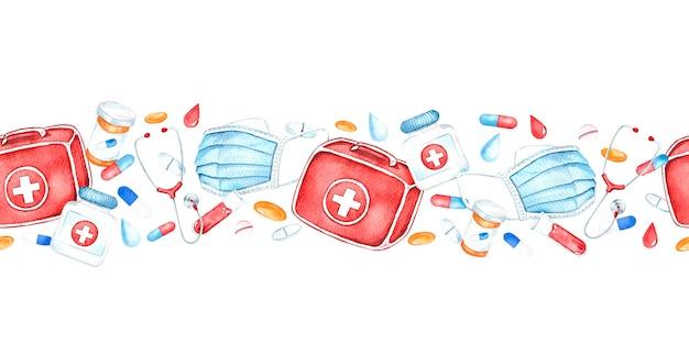 의료 기기, 응급 처치 키트, 알약, 심장, 청진기, 의료 마스크, 수채화 그림과 원활한 국경.