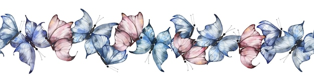 Seamless border with watercolor butterflies in blue and pink on a white background, summer bright butterflies, summer illustration for postcards, posters, packaging