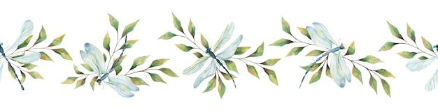 白い背景の上の水彩トンボと緑の葉、夏の明るいトンボ、昆虫、はがき、ポスター、パッケージの夏のイラストとのシームレスな境界線