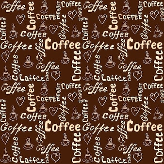 Seamless brown coffee pattern with lettering, hearts and coffee cups