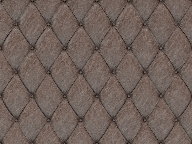 Seamless brown leather upholstery pattern, 3d illustration