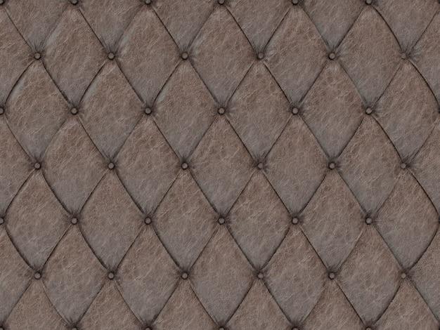 シームレスな茶色の革張りパターン、3 dイラストレーション