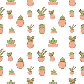 无缝仙人掌植物花卉图案插图背景,艺术设计数字图形花卉和植物面料图案