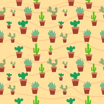 Seamless cactus in plat pot brown color pattern background illustration graphic green tree cactus
