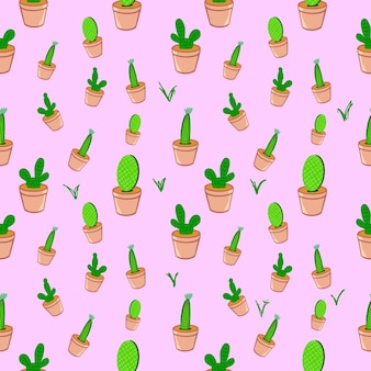 Seamless cactus in plat pot brown color pattern background illustration graphic