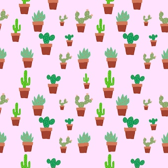 Seamless cactus trees in plat pot brown color pattern background
