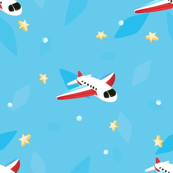 Seamless cartoon airplane pattern 3d rendered picture