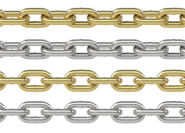 Seamless chain set in gold and silver isolated on white