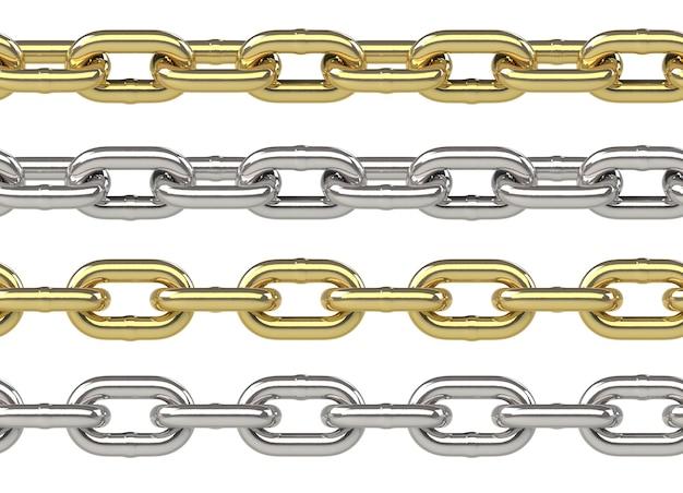 白で隔離の金と銀で設定されたシームレスチェーン