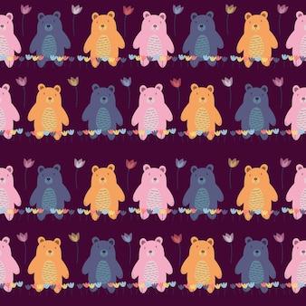 森の中でかわいいクマとのシームレスな幼稚なパターン。ファブリック、ラッピング、テキスタイル、壁紙、アパレルのクリエイティブなキッズフォレストテクスチャ。図 Premium写真