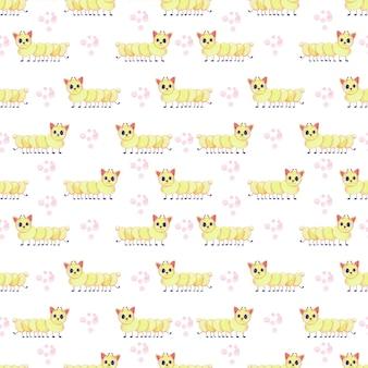 キャタピラーや猫のようなかわいいモンスターとのシームレスな子供の水彩画のパターン。