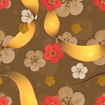 シームレスな中国の花柄の3dレンダリング画像