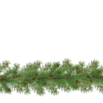 Seamless christmas fir garland isolated on white