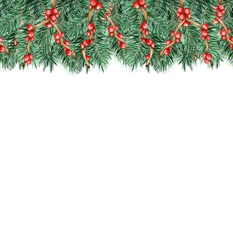 Seamless christmas and new year decorations isolated on white watercolor illustration