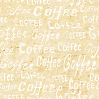 与在米黄老纸表面上的字法咖啡的无缝的咖啡样式