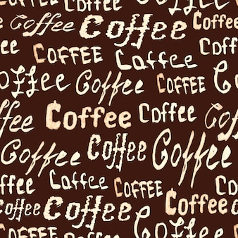 Seamless coffee pattern with lettering coffee on dark brown surface